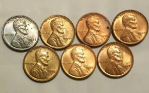 Lot-of-7-Uncirculated-Slightly-Imperfect-Lincoln-Wheat-Cents-1943-1957