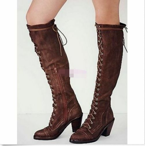 Womens Cuban Mid Heel Zippers Faux Suede Lace Up Over Knee High Thigh Tall Boots