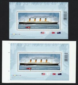 TITANIC-pair-of-Regular-amp-UnCut-Sheet-Souvenir-Sheet-Canada-2012-2535-2535ii