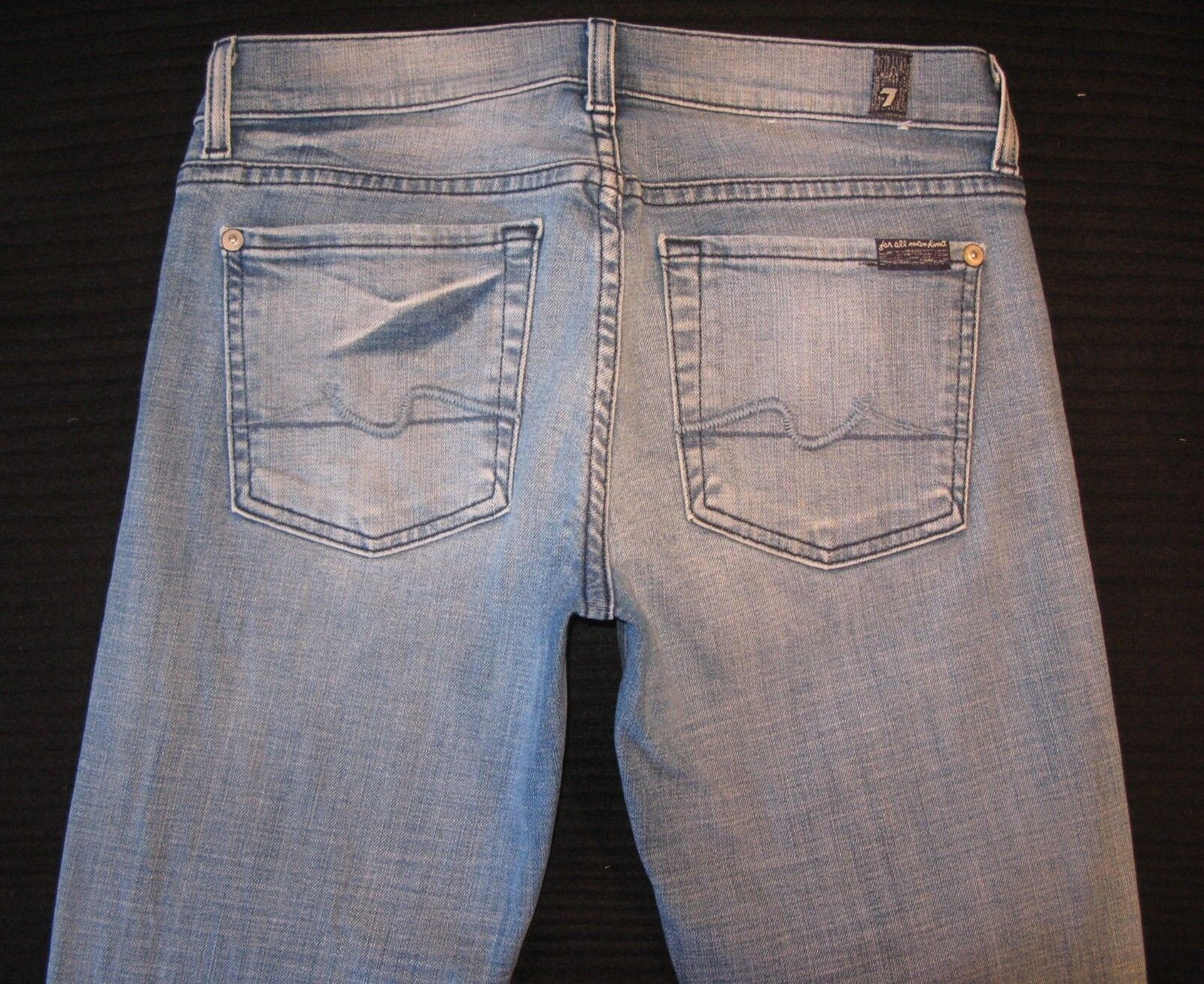 7 for all Mankind Womens Lexie Bootcut jeans bluee Distressed USA made Sz 27
