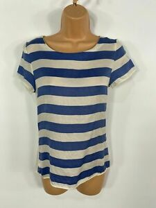 WOMEN-MASSIMO-DUTTI-BLUE-WHITE-STRIPE-SUMMER-SHORT-SLEEVED-CASUAL-T-SHIRT-TOP-XS