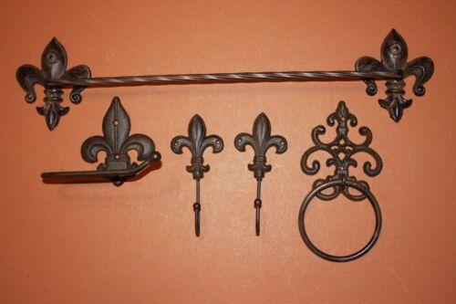 (5) Fleur De Lis Bathroom Accessory Set of 5, Vintage-look Fleur De Lis Bath Set