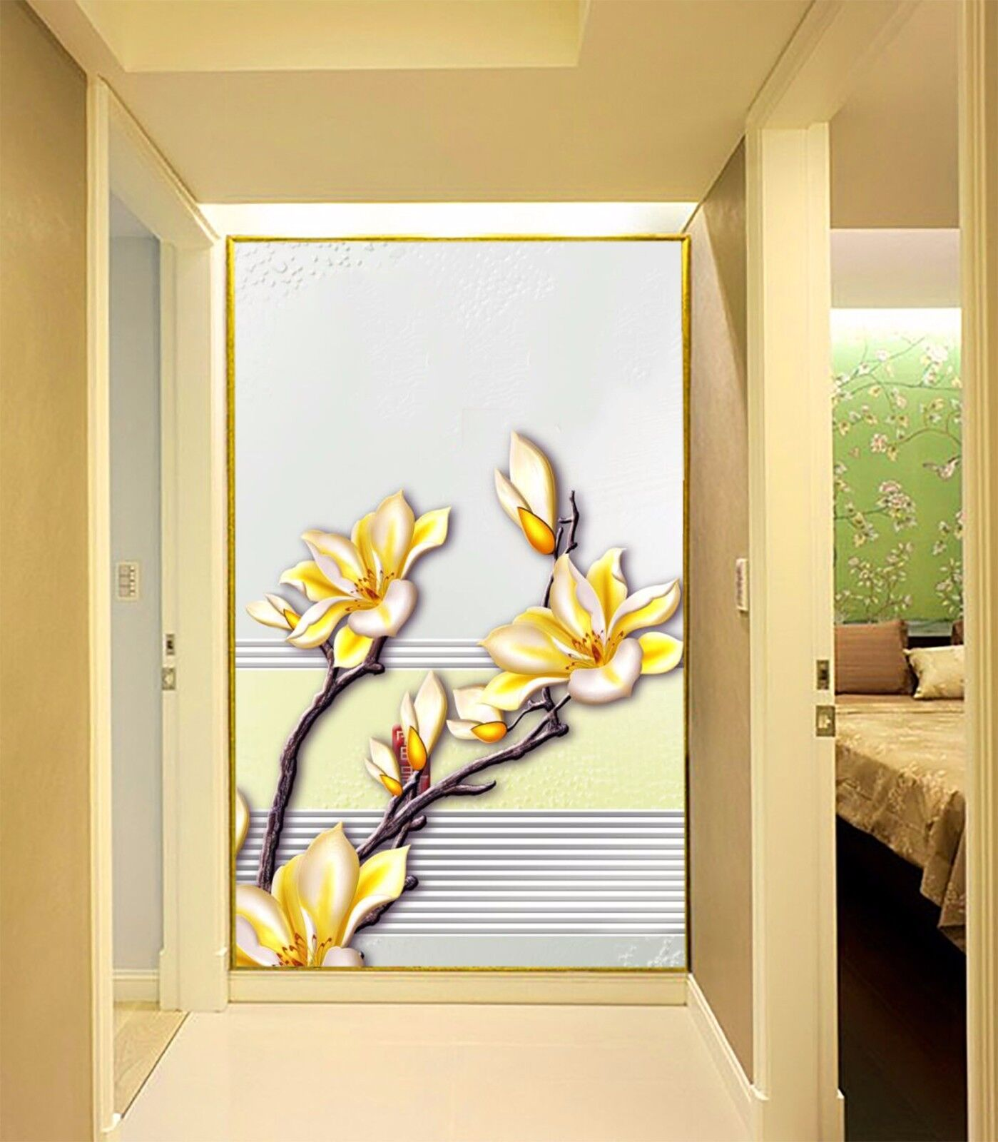 3D Striped flowers 233 Wall Paper Wall Print Decal Wall Deco Indoor Wall Murals