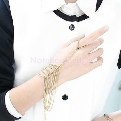 Punk Alloy Tassel Chain Linked Finger Ring Cuff Hand Harness Slave Bracelet