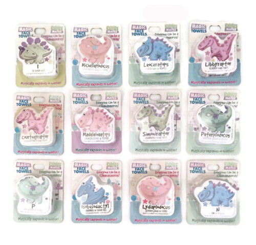 Personalizado Niños Niños Dino Mates Magic nombres de tela de toalla de cara regalo de cumpleaños