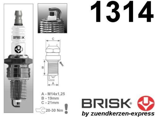 BRISK Super LR15YC 1314 Zündkerzen 4 Stück by Zuendkerzen-Express