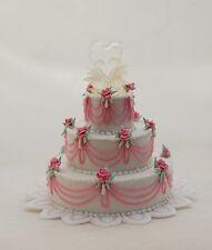 Spectacular Dollhouse Miniature Wedding Cake Rose Blown Glass Swan Heart Artisan