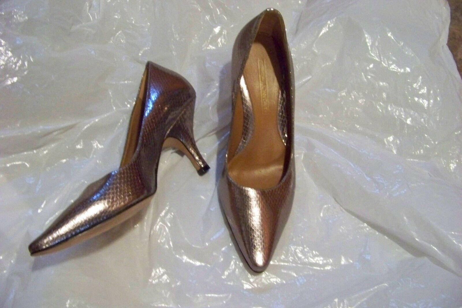 womens vtg joan & david reginah silver skin print pointed 6.5 toe heels shoes sz 6.5 pointed 47c996