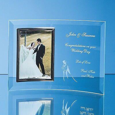 Personalised Engraved Glass 6x4 Photo Frame Wedding Anniversary Diamond Golden