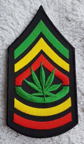 RASTA SERGEANT STYLE STRIPES PATCH Embroidered Cloth Badge Cannabis Leaf Ganja