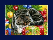 Christmas Cat ACEO Print Great Expectations by Irina Garmashova