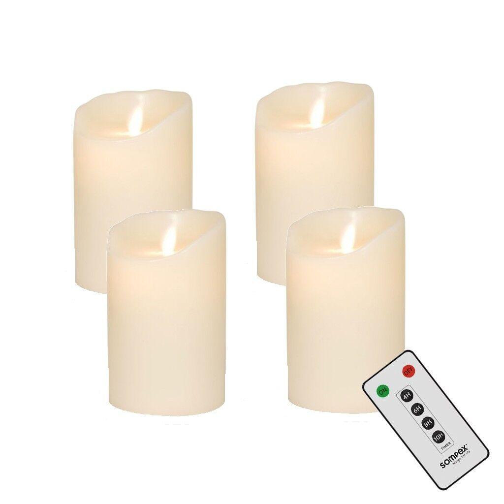 4er adventskranzset  sompex FLAME LED bougies v14 Ivoire 8 x 10cm avec FB 35130