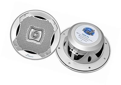 Silver LOT OF 6 *NEW* Lanzar AQ5CXS 400 Watt 5.25/'/' 2-Way Marine Speakers