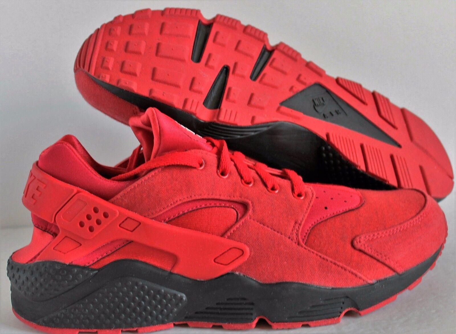 Nike Men's Air Huarache Tech Fleece Premium ID  Red-Black  SZ 12.5