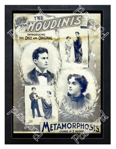 Historic-Harry-Houdini-039-s-Metamorphosis-show-1890s-Advertising-Postcard