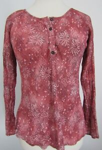 J-Jill-Pink-Henley-Top-Size-XS-Floral-White-Black-Long-Sleeve-Crinkle