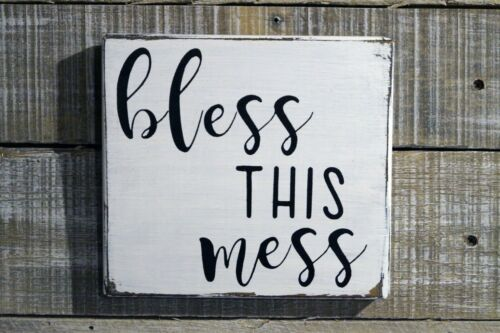 BLESS THIS MESS Rustic Wood Sign Distressed White Entry Living Room Room Decor