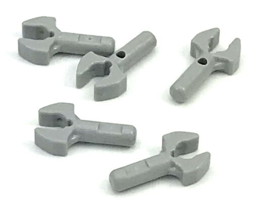 Lego Lot of 5 Light Bluish Gray Bar 1L with Clip Mechanical Claw Cut Edges Parts