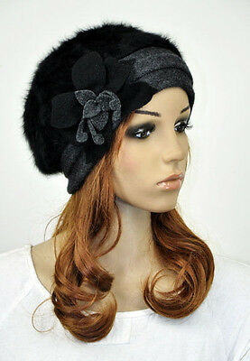 M32 Cute Flower Winter Warm Rabbit Fur & Wool Women's Hat Beanie Ski Cap 9-Color