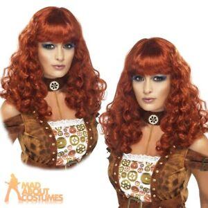Auburn Ladies Long Frizzy Wig Fancy Dress Accessory Ginger Adult New