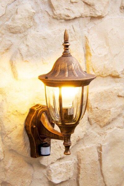 Clásico Sensor Al Aire Libre Lámpara de parojo de seguridad Linterna de jardín de detector de iluminación 92221