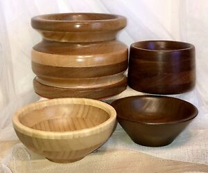 4-pc-VTG-Round-Wooden-Plant-Holder-Pot-Bowl-Planter-Turned-Wood-Segmented-LOT
