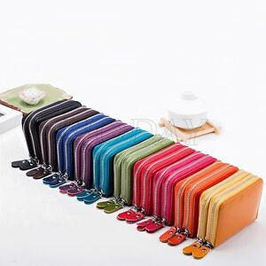 Genuine-Real-Leather-RFID-Blocking-Credit-ID-Card-Holder-Pocket-Wallet-Zip-Coin