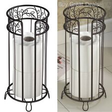 Standing Toilet Paper Tissue Roll Holder Reserve Storage Rack Bronze Bathroom