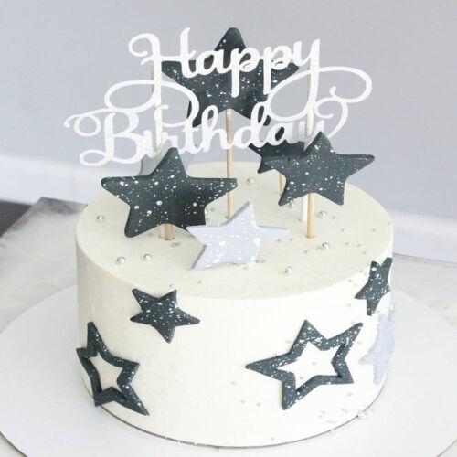15 PCS Glitter Paper Happy Birthday Cake Topper  Dessert Decor Supplies Hot Sale