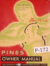 Pines 3 Tube Bender Operators Owner Manual 1948