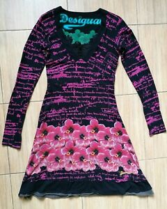 Para-mujeres-manga-larga-DESIGUAL-floral-Vestido-Talla-XS-muy-Buen-Estado