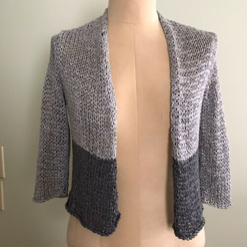 Eileen Fisher Silver & Charcoal Gray Chunky Knit C
