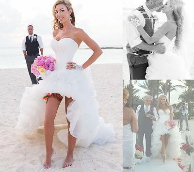 Sexy High Low Wedding Dress Beach  Bridal Gown Custom Size 2 4 6 8 10 12 14 16