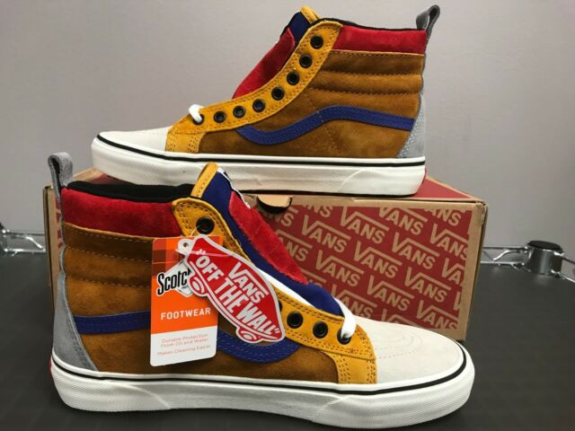 VANS Sk8-hi MTE Sudan Brown Mazarine Blue Yellow Red Scotchguard Men's Size  8