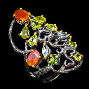 Rainbow-SET7x5mm-Natural-Orange-Opal-925-Sterling-Silver-Ring-Size-8-R122554