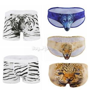 3D Wolf Sexy Men Trunk Boxer Brief Shorts Underwear Pouch Bikini Swim Underpant
