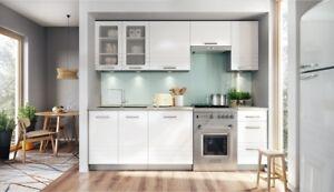 Details zu Küche 240cm Schränke, Küchenzeile MDF weiss matt - Neu&Schnell