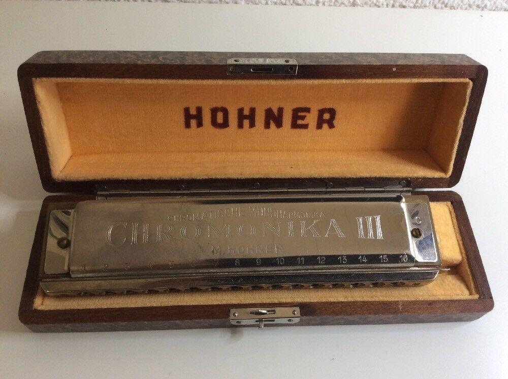 Alte Mundharmonika HOHNER Chromonika III Mit Original Holz Kasten