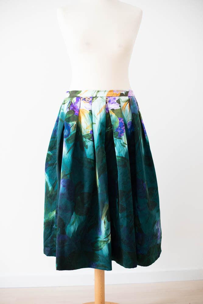 Dries van Noten Faltenrock FR 40 M Kollektion '14 fantastic silk cotton skirt 16