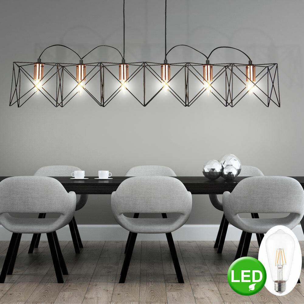 Retro LED hanging lamp living room cage design filament pendant ceiling lamp new