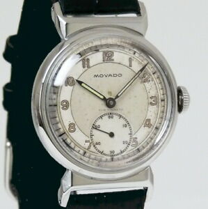 MOVADO-Vintage-WW-2-MILITARY-Watch-ACVATIC-C-150-MN-Sub-Dial-Stainless-SERVICED