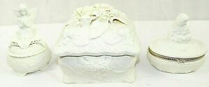 3-BEAUTIFULLY-Designed-White-PORCELAIN-Jewelry-Boxes-Collectible-amp-Decor-VINTAGE