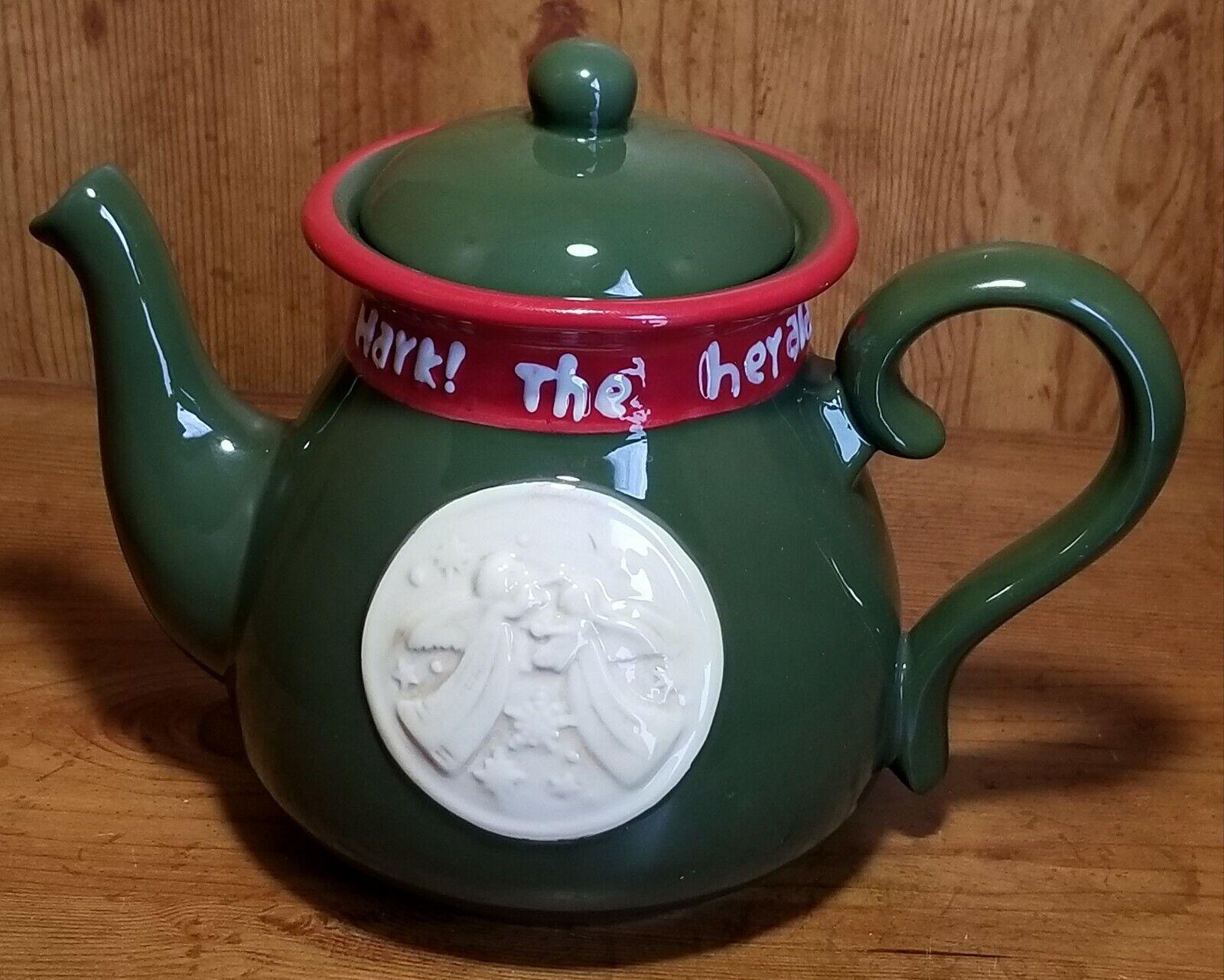 Burton+Burton Grün & rot Ceramic Hark The Herald Angels Sing Teapot 063777