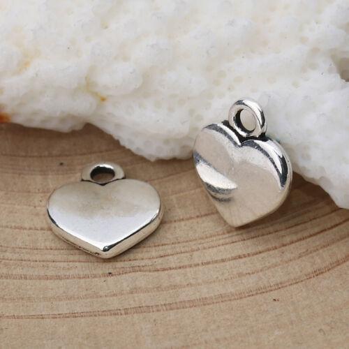 Heart with Loop Tibetan Silver Charm Pendant 12x10mm 50831