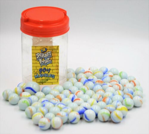 1 GLASS 16mm MARBLES IN JAR TRADITIONAL  WHITE OPAQUE SK NEW 90