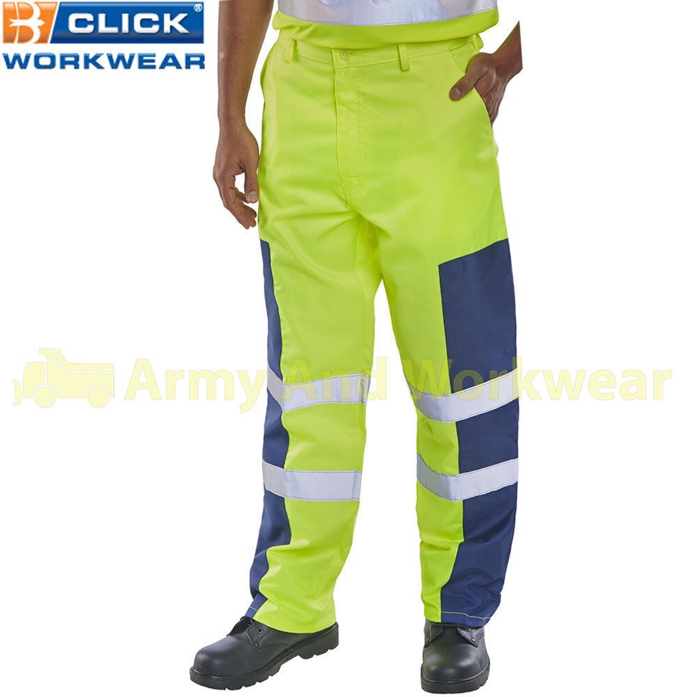 Mens Hi Viz Work Trousers Tough Nylon Patch Heavy Duty Reflective Polycotton