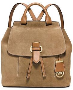 75e331e081b9 Michael Kors Romy Medium Leather Suede Desert Gold Backpack for sale ...