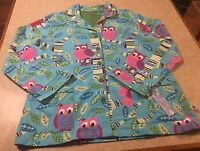 Nick & Nora Pajama Top Women's Size Xxl Owls Blue Long Sleeve Flannel Button