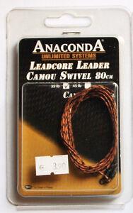 Anaconda-Leadcore-Leader-Camou-Swivel-Camou-Brown-35-lb-80cm-2-Stk
