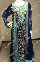 Pakistani Indian Pearl Salwar Kameez Party Wear Embroidery Wedding Bridal M,l